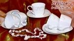 Набор чайных пар САЛЬВЕТТО 6 персон/12 предметов. Костяной фарфор Акку