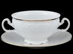 Чашка 360 мл с блюдцем 17,5 см для бульона Бернадотт. Отводка золото. Чехия. (6 пар)