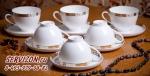Набор чайных пар ЗОЛОТАЯ ВЕТОЧКА 6 персон/12 предметов. Костяной фарфор Акку
