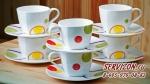 Набор чайных пар АЛЛЕГРО (Круги) на 6 персон, 12 предметов. Костяной фарфор Акку