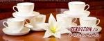 Набор чайных пар МИЛЛЕНИУМ на 6 персон/12 предметов. Костяной фарфор Акку
