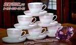 Чайные пары СОВЕРШЕНСТВО 6 персон, 12 предметов. Костяной фарфор Акку