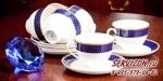 Чайные пары АРУЖАН 6 персон, 12 предметов. Костяной фарфор Акку