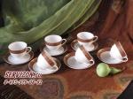 Чайные пары ТРИУМФ на 6 персон, 12 предметов. Костяной фарфор Акку.