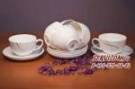 Набор чайных пар ЭЛЕГИЯ на 6 персон/12 предметов. Костяной фарфор Акку.