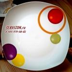 Тарелка квадратная АЛЛЕГРО (Круги) диам. 20 см. Костяной фарфор Акку