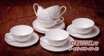 Набор чайных пар СОФИЯ на 6 персон 12 предметов. Костяной фарфор Акку