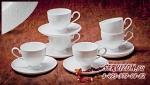 Набор чайных пар АМАЛИЯ на 6 персон 12 предметов. Костяной фарфор Акку