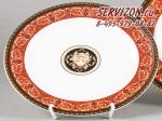 Блюдо овальное 35см Сабина, Версаче, Красный узор. Чехия