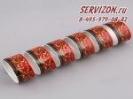 Набор колец для салфеток Сабина, Версаче, Красный узор. Чехия, 6 штук