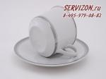 Набор чайных пар Сабина, Изящная платина. Чехия, 6 штук