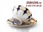 Набор чайных пар, Соната, Кобальтовый орнамент с цветами.Чехия, 6 штук