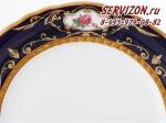 Салатник треугольный 25см, Соната, Кобальтовый орнамент с розами.Чехия