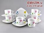 Набор чайных пар, Бьянка, Цветы.Чехия, 6 штук
