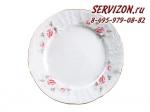 Тарелка десертная 19 см Бернадотт, Бледные розы. Отводка золото., 6 штук