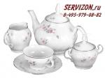Чайный сервиз Бернадотт. Бледные розы. Отводка платина. Чехия. (12 -  41)