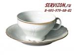 Чайные пары 220 мл с блюдцем 15,5 см Бернадотт. Отводка золото. Чехия. (6 персон 12 предметов)
