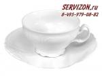 Чайные пары 200 мл с блюдцем 15,5 см высокая Бернадотт. Белая посуда. Чехия. (6 пар)