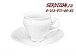 Кофейная пара Чашка 170 мл с блюдцем 14 см Бернадотт. Белая посуда. Чехия. (6 пар)