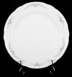 Тарелка мелкая Констанция . Серый орнамент. Отводка платина. Чехия (24 см - 6 шт)