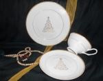 Набор подарочный Новый год Золотая елочка. Костяной фарфор Акку