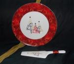 Блюдо для торта с лопаткой Новый год (золото,красное). Костяной фарфор Акку